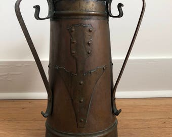 Imperial Russian Arts & Crafts Style Copper and Brass Vase