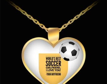 WORLD'S BEST Soccer Girlfriend! Gold Plated Necklace