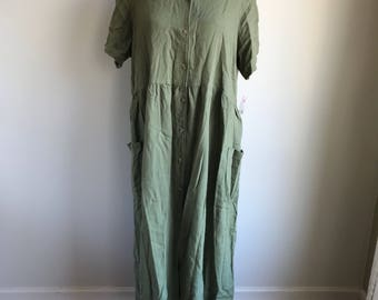 Vintage Plus Size Green Flax Dress Orvis Size 20 / Plus Size Deadstock