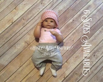 Basket Weave Hat - 6 Sizes Available; pink, pastel pink, home from hospital, baby girl   ***READY TO SHIP***