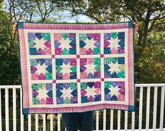 Baby Dreamer Quilt - Crib Size - Dreamy Nursery Heirloom Quilt - Stars, jewel tones, bold - starry baby quilt, toddler quilt, baby bedding