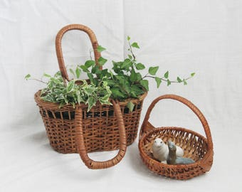 Vintage Woven Wicker Small Basket: Bohemian Decor, Indoor Planter, Accessories Holder