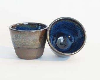 Ceramic Tumbler Set (2) - ceramic cups - blue cups - handmade ceramic tumblers - handmade pottery