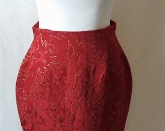 Vintage Beautiful Red Brocade Ports International Skirt