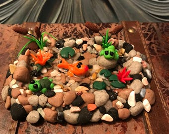 Miniature Pond/Altoid Tin/Fairy Garden/Frog/Turtle/Fish/OOAK/Cattails/Figurine