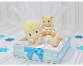 Baby boy, figurines, welcome, baby shower gifts, bomboniere, favors, baby play time, tummy time, satin, tulle, jordan almond