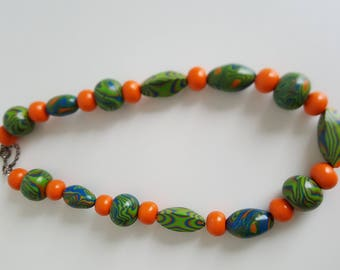 unique green orange short necklace from polymerclay