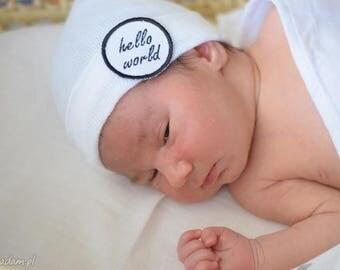 A Best Seller! Newborn Hospital Hat. hello world  Newborn Beanie. Every New Baby Boy Should Have!