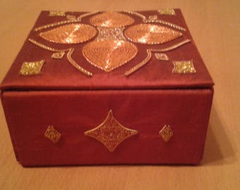 Silk and goldwork trinket box