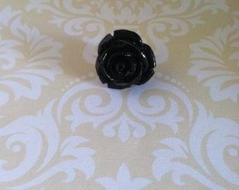 Men's Flower Rose Lapel Pin Boutonniere Black Resin Alternative Wedding