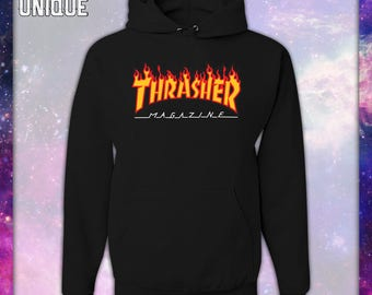 THRASHER MAGAZINE Hoodie Sweatshirt-Unisex-Skateboarder-Skateboard Magazine-Flame Logo-Skate Shops-Skateboarding