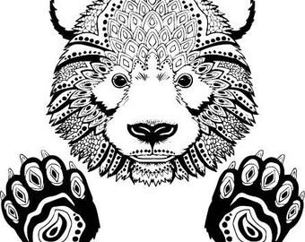 Panda svg, Panda svg file for Cricut, Zentangle svg, Panda Mandala svg, Panda Silhouette designs, panda, wild svg, Pattern, Panda clipart