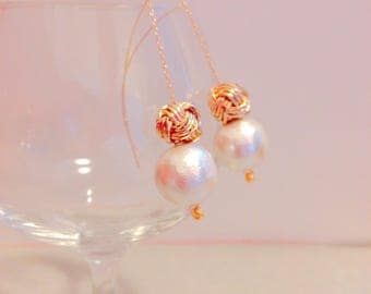 Cotton pearl and monkey fist knot earrings made from Mizuhiki.