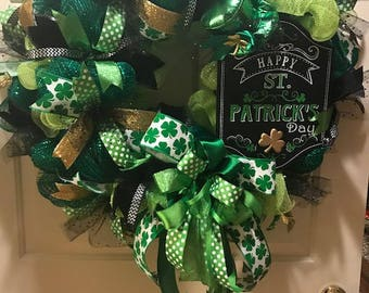 St Patricks Day Wreath, St Patrick's Day, Four Leaf Clover, Green, Gold - FREE SHIPPING