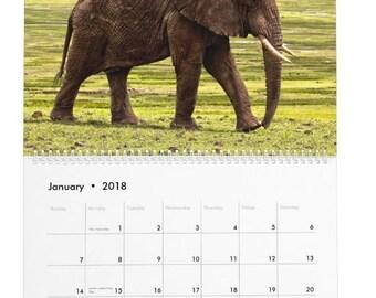2018 African Safari Calendar, 2018 desk calendar, calendar 2018, desktop calendar, large desk calendar, African animal, safari animal