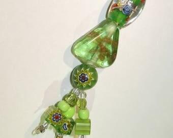 Green-Colorful glass beads: key ring, pocket pendant, earring