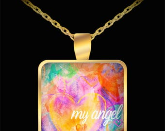 Cat Angel Pet Memorial Gift - Angel Cat Gift - Cat Died Pet In Heaven - Gifts For Cat Lovers Pet Owners - Gold Plated Pendant Necklace