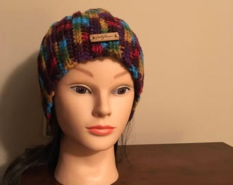 Women's Variegated brown, teal, green, and red Winter Hat