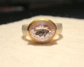 Silver ring with gold and Kunzite
