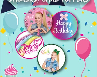 JoJo Siwa Cupcake Toppers, Instant Download, 12 Stickers/Cake Top per sheet, Party Bag, Sweet Cones Sticker