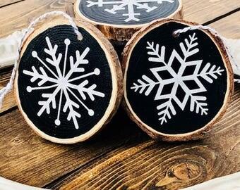 Wood slice Ornaments - Snowflakes (set of 3)