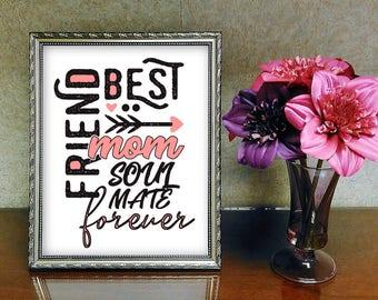 digitale Grafik Datei PNG und PDF zum Downloaden - best friends mom mummy Mutter Mama soulmates - zb für T-Shirts, Drucke, Bilder, Tassen...