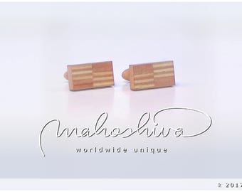wooden cuff links wood flamed maple maple handmade unique exclusive limited jewelry - mahoshiva k 2017-25