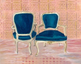 Art print - 'Louis in Flood' - vintage chairs