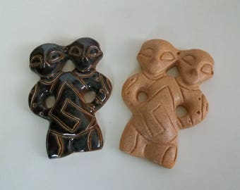 Double Headed Figure Replica Vinca Glazed Porcelain