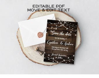 Rustic save the date invitation Country save the date card Vintage wedding save the date template Dark wood save the date printable DIGITAL