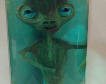 Alien sculpture in jar. Original piece of interior or for collection. exclusive