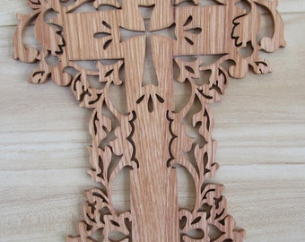 scroll sawn august cross in solid oak