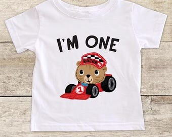 I'm ONE race car design First Birthday Baby Bodysuit or Baby T-Shirt for Boy