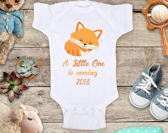 A Little One is coming 2018 Baby Fox surprise birth announcement Baby bodysuit pregnancy parents grandparents