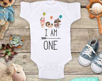 I Am One Birthday Woodland Animals hippie hipster Bohemian design - or Two Three Four First Second Third Fourth Fifth Bday Shirt Bodysuit