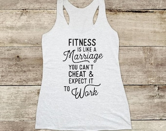 Fitness is like a Marriage You Can't cheat workout Soft Tri-blend Soft Racerback Tank - funny gym yoga running exercise birthday gift