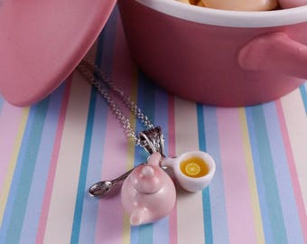 Pink Teapot necklace, white teacup ,miniature food, perfect gift, for tea lover, tea time, tea necklace, tea addict,