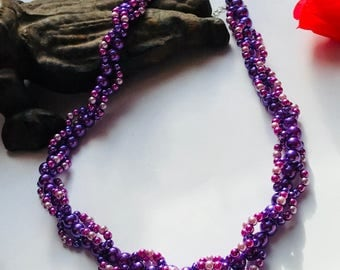 Purple glass pearl spiral weave necklace