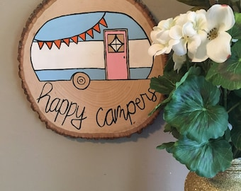 Happy Campers Painting on Wood | Home Decor