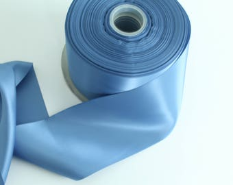 Smoke Blue Satin Ribbon By The Yard / Wholesale Ribbon By The Yard / Ribbon By The Yard / Bridal Ribbon / Craft Ribbon / Smoke Blue
