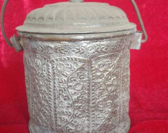 Rustic Vintage Hand Made Ottoman Style Antique Copper Bucket #1323