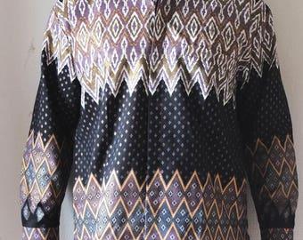 Cotton-silk, embroidered Indonesian batik shirt