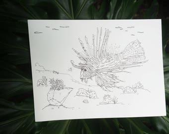 Sea Front Succulents : Lion fish & Succulent Planter Digital Download Coloring Book Page