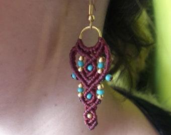 Tribal, Macrame Earrings ,Bohemian, Boho ,Chic Style, Indian, Gold, Bordeaux ,by Chrysa's hands