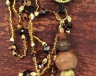Reversible Black & Gold Tassel Necklace