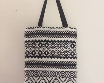 Black and white tote bag.