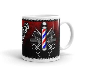 Barber Coffee Mug, Barbershop Mug, Barber, Barber Shop, Barber Pole, Hair Clipper, Barber Gift, Scissors