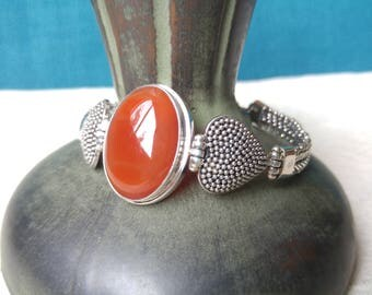 Silver & Agate Bracelet- Silver Hearts- Southwest Jewelry- Rust-colored- Sterling Bracelet- Nice Gift - Valentine's Day - Agate -