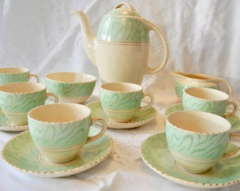 Vintage 1950's Burleigh coffee set, mint green coffee/tea set for 6, Vintage english coffee set
