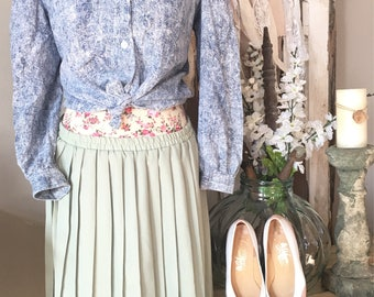 Vintage womans skirt,  Easter clothes, flowy skirt,  mint green skirt, Leslie Fay, plus size